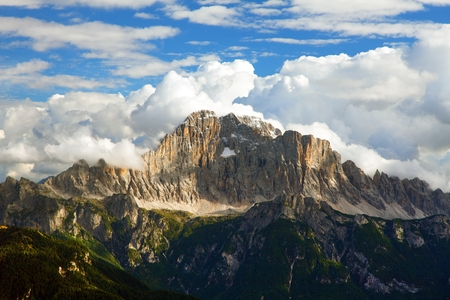 Evening panoramic view of mount Civetta, South Tirol, dolomites mountains, Italy