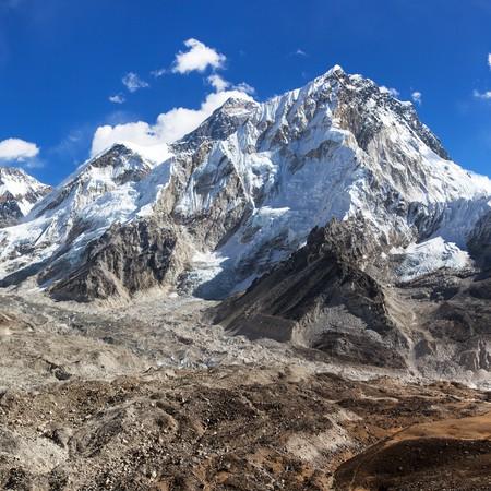 Panoramic view of Everest and Nuptse with beautiful clouds on sky, Khumbu valley and glacier, Sagarmatha national park, Nepal Himalayas mountains
