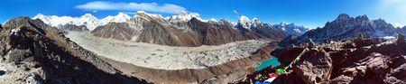 Panoramic view of Ngozumba glacier and great himalayan range, Mount Everest, Lhotse Cho Oyu and Makalu, Gokyo lake and village, from Gokyo Ri, Nepal Himalayas mountains