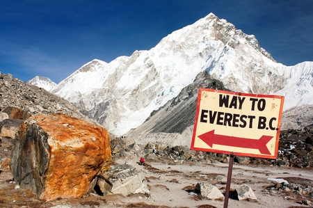 signpost way to mount everest b.c., Nepal Himalayas mountains