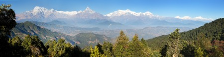 Panoramic view of Annapurna range, Nepal Himalayas mountains Stock Photo - 123494525