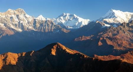 Mount Everest and Lhotse from Silijung hill near Salpa pass, great himalayan range, Nepal himalayas mountains Stock Photo
