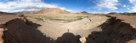 Beautiful panorama of Pamir mountains area in Tajikistan, landscape around Pamir highway, roof of the world