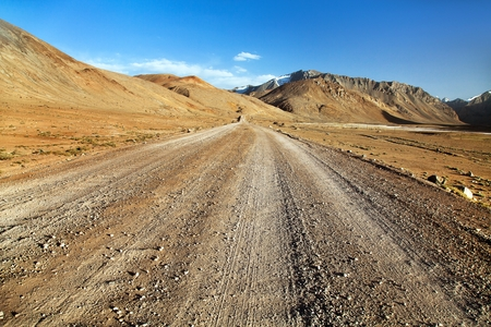 Pamir highway or Pamirskij trakt unpaved M41 international road in Tajikistan, roof of the world Stock Photo - 123494425