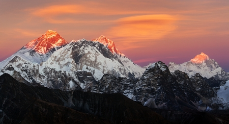 Evening sunset view of Mount Everest, Lhotse and Makalu from Renjo pass. Three passes and Mt Everest base camp trek, Khumbu valley, Solukhumbu, Sagarmatha national park, Nepal Himalayas mountains Stock Photo