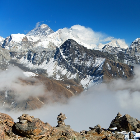 Top of Mount Everest and Lhotse from Gokyo valley with southern saddle - way to Everest base camp - Nepal Himalayas mountains Stock Photo