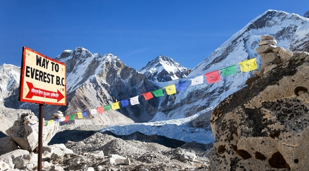 signpost way to mount everest b.c., Khumbu glacier and prayer flags, Everest area, Nepal Himalayas mountains
