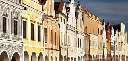 View from Telc or Teltsch town square with renaissance and baroque colorful houses town in Czech Republic, Moravia Stock Photo