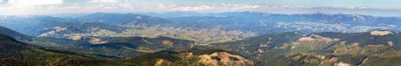 Panoramic view of Ukraine Carpathian mountains and Jasinja village
