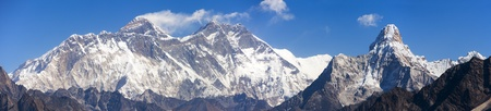 Panoramic view of Mount Everest, Lhotse and Ama Dablam from Kongde, Sagarmatha national park, Khumbu valley, Solukhumbu, Nepal Himalayas mountains Stock Photo
