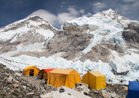 Mount Everest base camp, tents, Khumbu glacier and mountains, sagarmatha national park, trek to Everest base camp - Nepal Himalayas mountains