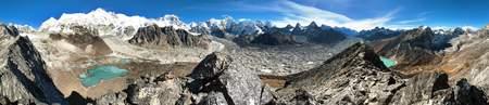 Beautiful panoramic view of Mount Cho Oyu and Cho Oyu base camp, mountain lakes, Everest, Lhotse, Gyachung Kang, Ngozumba and Gyazumba glaciers - Sagarmatha national park, Khumbu valley, Nepal Stock Photo