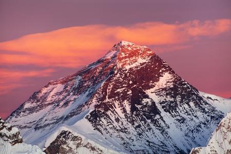Evening colored view of Mount Everest from Gokyo Ri, Khumbu valley, Solukhumbu, Sagarmatha national park, Nepal Himalayas mountains