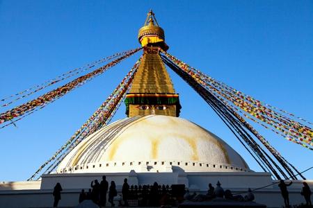Boudha, bodhnath or Boudhanath stupa with prayer flags, the biggest buddhist stupa in Kathmandu city - buddhism in Nepal