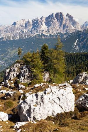 View of Cristallo gruppe, near Cortina d Ampezzo, Alps Dolomites mountains, Italy Stock Photo - 124957143