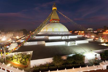 Evening or night view of Boudha or Bodhnath stupa in Kathmandu,  Nepal, Bodhnath stupa is the biggest stupa in Kathmandu city