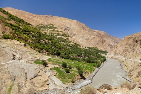 Panj river and Pamir mountains, Panj is upper part of Amu Darya river. Panoramic view, Tajikistan and Afghanistan border, roof of the world Stock Photo - 124957147
