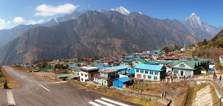 Panoramic view of Lukla village and Lukla airport, Khumbu valley, Solukhumbu, Everest area, Nepal