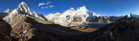 Beautiful view of mount Everest, Lhotse and Nuptse from Kala patthar - way to Everest base camp, Khumbu valley, Sagarmatha national park, Nepalese Himalayas mountains