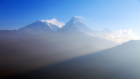 Blue horizon of Annapurna 1 I and Annapurna south, round Annapurna circuit trekking trail, Nepal Himalayas mountains Stock Photo - 124963255