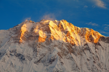 Morning panoramic view of Mount Annapurna from Annapurna south base camp, Nepal Himalayas mountains