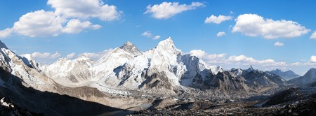 Panoramic view of himalayas mountains, Mount Everest and Khumbu Glacier from Kala Patthar - way to Everest base camp, Khumbu valley, Sagarmatha national park, Nepalese himalayas Stock Photo