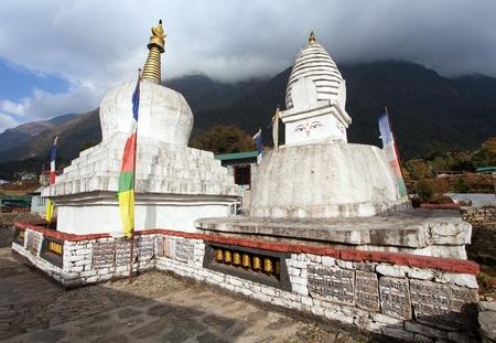 Buddhist stupa or Chorten on the way to Everest base camp, Chaurikharka village, Khumbu valley, Solukhumbu, Nepal buddhism