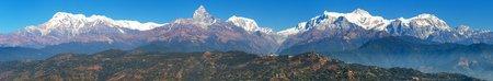 Mount Annapurna range, Nepal Himalayas mountains, panoramic view