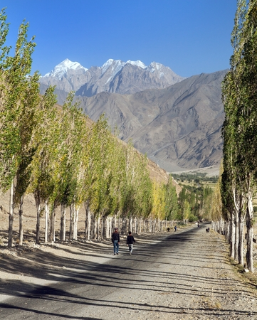 Pamir highway, road and alley of poplar trees and Pamir mountains, Wakhan corridor and valley, Gorno-Badakhshan region, Tajikistan and Afghanistan border, roof of the world Archivio Fotografico