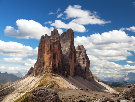 View of Drei Zinnen or Tre Cime di Lavaredo with beautiful cloud on sky, Sextener Dolomiten or Dolomiti di Sesto, South Tirol, Dolomites mountains, Italien Alps Stock Photo