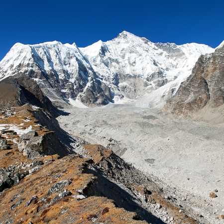 Mount Cho Oyu - way to Cho Oyu base camp - Everest area, Sagarmatha national park, Khumbu valley, Nepal Himalayas mountains