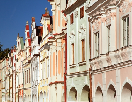View from Telc or Teltsch town square with renaissance and baroque colorful houses,  town in Czech Republic, Moravia