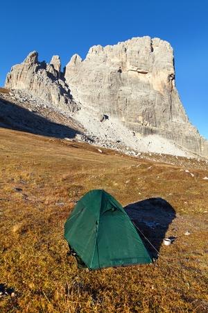 View of  mount Beco de Mezodi with tent, South Tirol, dolomites mountains, Italy Stock Photo