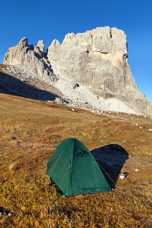 View of  mount Beco de Mezodi with tent, South Tirol, dolomites mountains, Italy Banco de Imagens