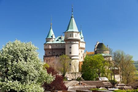 Bojnice castle near Prievidza town, springtime view, Slovakia, Europe