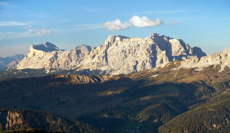 Evening panoramatic view of Fanes gruppe, Kreuzkofel gruppe, Piz de Lavarella, Conturinesspitze and Fanes, Alps lDolomites mountains, Italy Stock Photo