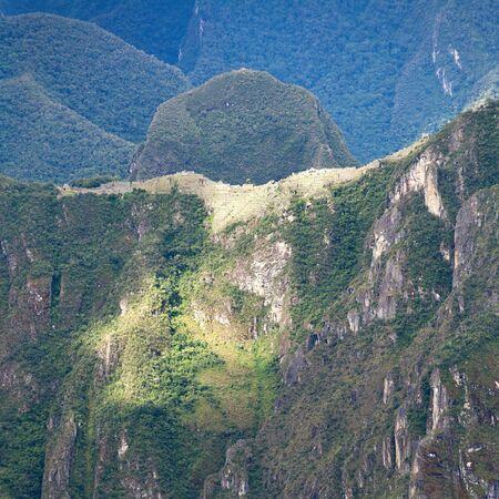 Machu Picchu inca town seen from Salkantay trek, Cusco area in Peru