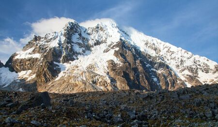 Evening view of mount Salkantay, Salkantay trek in the way to Machu Picchu, Cuzco area in Peru Stock Photo