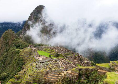 Machu Picchu, panoramic view of peruvian incan town, sacred valley, Cusco region, Peru