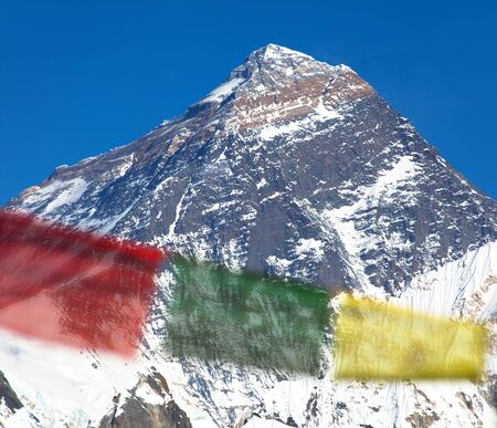 view of Mount Everest with buddhist prayer flags from Renjo La pass - Nepal himalayas mountains