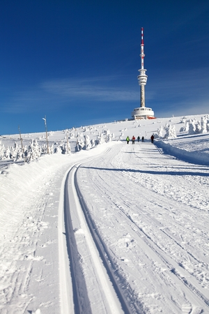 ski trail or crosscountry skiing way on jesenik mountains and television transmitter mount praded - czech republic