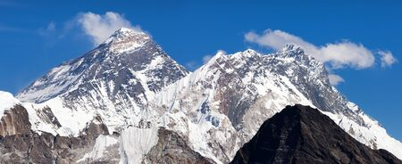 Top of Mount Everest and Mount Lhotse from Gokyo Ri - way to Everest base camp - Nepal Himalayas mountains 写真素材