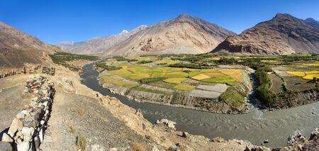 Fields aroun Panj river, Gorno-Badakhshan, Tajikistan and Afghanistan border, Wakhan corridor, Hindukush mountains
