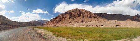 Pamir highway or pamirskij trakt. Landscape around Pamir highway M41 international road, mountains in Tajikistan
