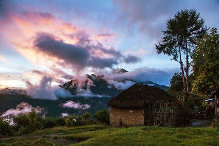 beautiful house home building, evening view from Choquequirao trekking trail, Cuzco area, Machu Picchu area, Peruvian Andes 版權商用圖片