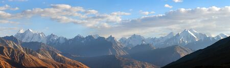 Evening view of Hindukush or Hindu kush mountain ridge, Tahikistan and Afghanistan, Wakhan corridor, Pamir highway or pamirskij trakt