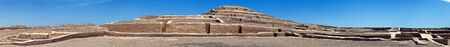Nazca pyramid at Cahuachi archeological site in the Nazca desert of Peru Panoramic view