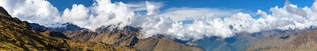 Andes mountains, Mount Salkantay in the middle of clouds, panoramic view from Choquequirao trekking trail, Cuzco area, Machu Picchu area, Peruvian Andes Stock fotó