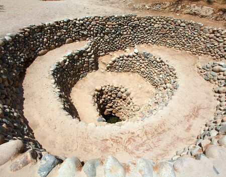 Cantalloc Aqueduct in Nazca, spiral or circle aqueducts or wells, Peru, Inca architecture and culture Фото со стока