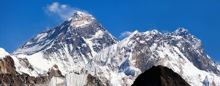 Top of Mount Everest and Mount Lhotse from Gokyo Ri - way to Everest base camp - Nepal Himalayas mountains